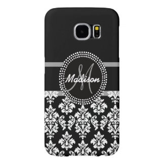 Gray Black Damask with Monogram Samsung Galaxy S6 Cases