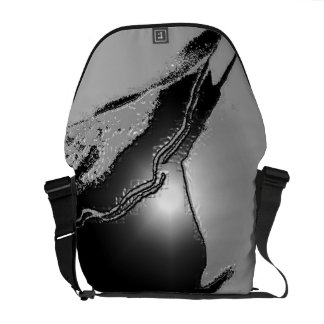 Gray Black Emboss Latex Messenger Bag