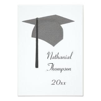 Gray Black Graduation Cap and Tassel Invitations