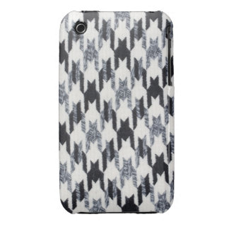 Gray Black Houndstooth Modern Fabric Texture iPhone 3 Case