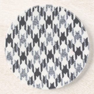 Gray & Black Houndstooth Modern Fabric Texture Coaster