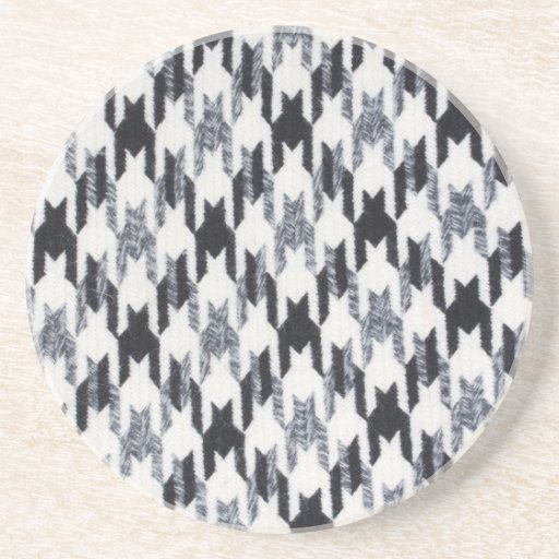 Gray & Black Houndstooth Modern Fabric Texture Beverage Coaster