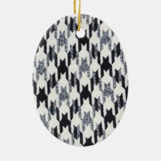 Gray Black Houndstooth Modern Fabric Texture Christmas Tree Ornament