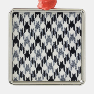 Gray Black Houndstooth Modern Fabric Texture Christmas Ornament