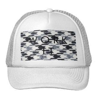 Gray Black Houndstooth Modern Fabric Texture Mesh Hats