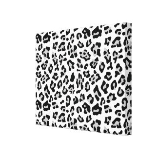 Gray Black Leopard Animal Print Pattern Canvas Print