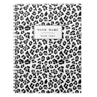 Gray Black Leopard Animal Print Pattern Notebooks