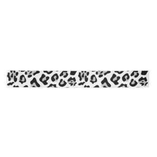 Gray Black Leopard Animal Print Pattern Satin Ribbon