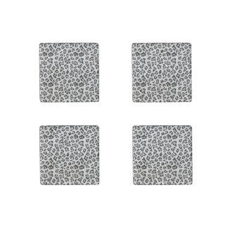 Gray Black Leopard Animal Print Pattern Stone Magnet