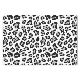 "Gray Black Leopard Animal Print Pattern 10"" X 15"" Tissue Paper"