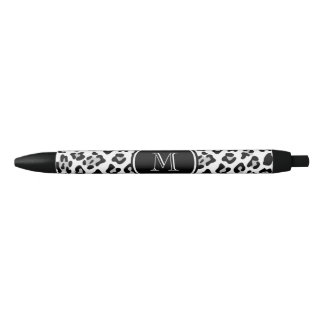 Gray Black Leopard Animal Print with Monogram Black Ink Pen