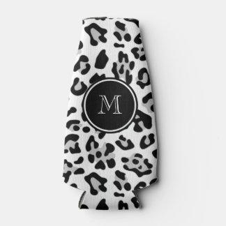 Gray Black Leopard Animal Print with Monogram Bottle Cooler