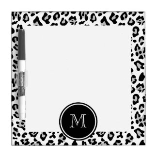 Gray Black Leopard Animal Print with Monogram Dry Erase Whiteboards