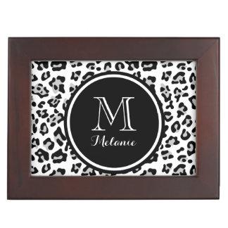 Gray Black Leopard Animal Print with Monogram Memory Box