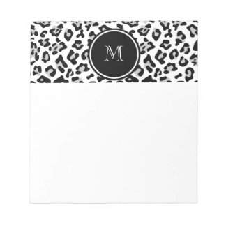 Gray Black Leopard Animal Print with Monogram Notepad