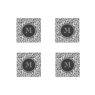 Gray Black Leopard Animal Print with Monogram Stone Magnet