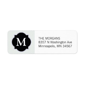 Gray & Black Modern Chevron Custom Monogram Return Address Label