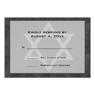 Gray Black Pattern Border Star Bar Mitzvah RSVP Personalized Announcements
