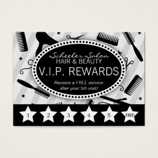 Gray & Black Salon Loyalty Business Card