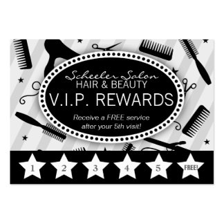 Gray Black Salon Loyalty Business Cards