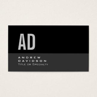 Gray Black Stripe Monogram Stylish Business Card