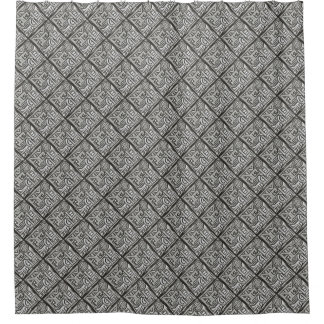 Gray Black Textural Geometric-Abstract Pattern Shower Curtain