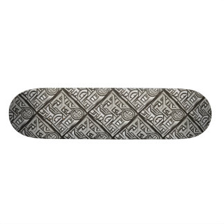 Gray Black Textural Geometric-Abstract Pattern Skateboard Deck