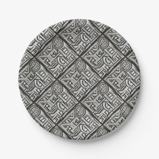 Gray Black Textural Geometric-Hand Painted Pattern Paper Plate