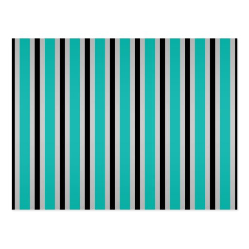 Gray black turquoise stripes post cards