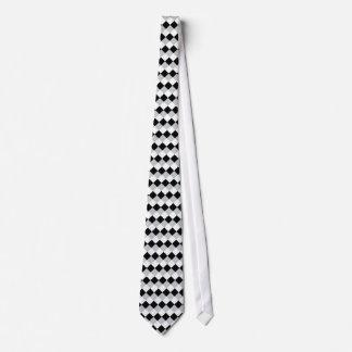 Gray Black White Diamond Squares Tie