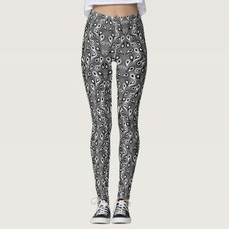 Gray Black White Paisley Bandana Print Leggings