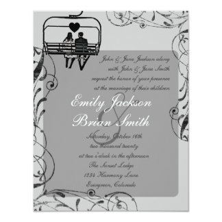 Gray black white ski lift custom wedding invites