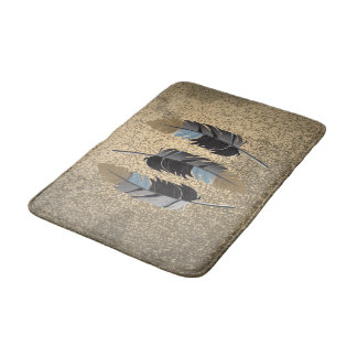 Gray, Blue and Brown Feather Design on Grunge Tan Bath Mat