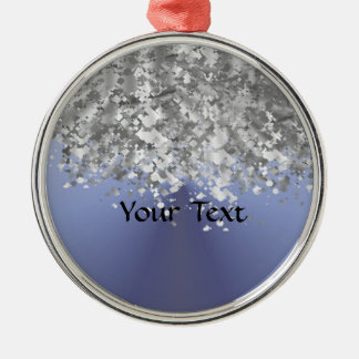 Gray blue and faux glitter christmas ornament