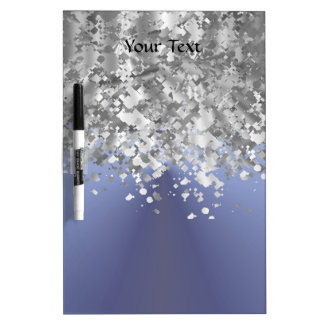 Gray blue and faux glitter dry erase board