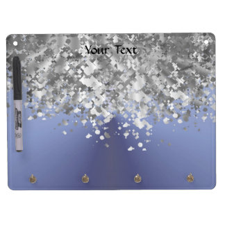 Gray blue and faux glitter dry erase board with key ring holder