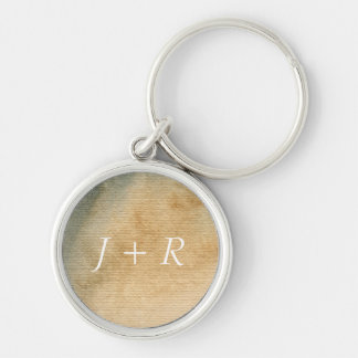 gray-blue background watercolor 7 Silver-Colored round key ring