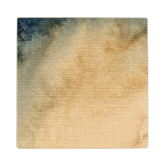 gray-blue background watercolor 7 wood coaster