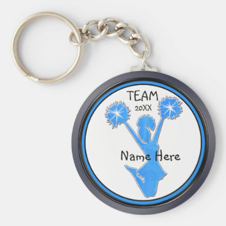 Gray Blue Black Cheerleader Keychains Personalized