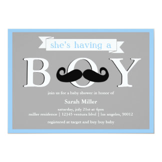 Gray Blue - Boy Moustache Baby Shower Invitation