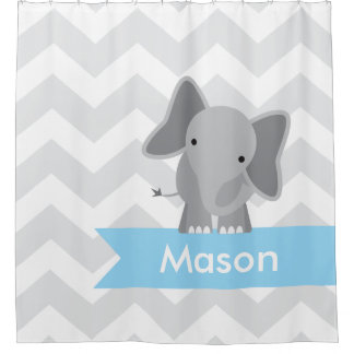 Gray Blue Chevron Elephant Kids Personalized Shower Curtain
