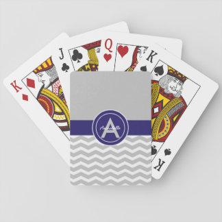 Gray Blue Chevron Poker Deck