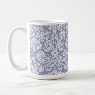 Gray-Blue Damask Basic White Mug