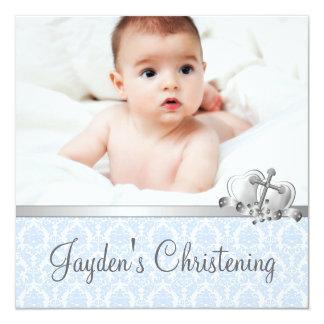 Gray Blue Damask Boys Photo Christening Card