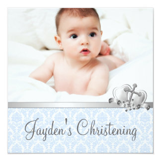 Gray Blue Damask Boys Photo Christening Personalized Invitations