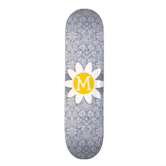 Gray-Blue Damask Daisy Skate Board Decks