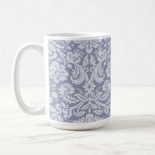 Gray-Blue Damask Coffee Mug