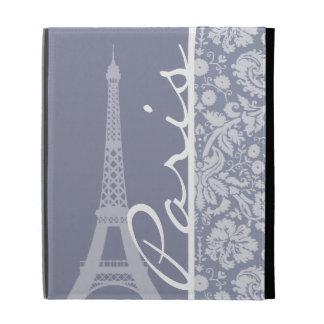 Gray-Blue Damask; Paris iPad Folio Covers