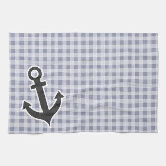 Gray-Blue Gingham; Anchor Tea Towels