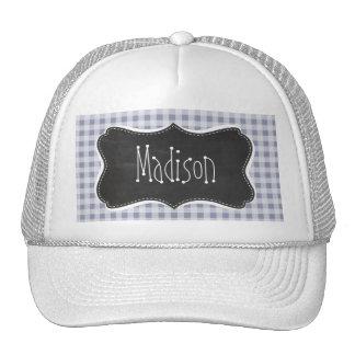 Gray-Blue Gingham; Vintage Chalkboard Mesh Hat